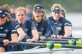 "The Boat Race season 2016 - Women's Boat Race Trial Eights (OUWBC, Oxford): ""Scylla"", here 7-Lauren Kedar, 6-Joanne Jansen, 5-Anastasia Chitty, 4-Rebecca Te Water Naude, 3-Elettra Ardissino, 2-Merel Lefferts, bow-Issy Dodds. River Thames between Putney Bridge and Mortlake, London SW15,  United Kingdom, on 10 December 2015 at 12:36, image #310"