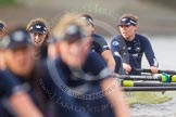 """The Boat Race season 2016 - Women's Boat Race Trial Eights (OUWBC, Oxford): """"Charybdis"""", here 4-Emma Spruce, 3-Lara Pysden, 2-Christina Fleischer seen behind """"Scylla"""". River Thames between Putney Bridge and Mortlake, London SW15,  United Kingdom, on 10 December 2015 at 12:36, image #313"""