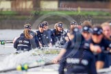 "The Boat Race season 2016 - Women's Boat Race Trial Eights (OUWBC, Oxford): ""Charybdis"", cox-Morgan Baynham-Williams, stroke-Kate Erickson, 7-Maddy Badcott, 6-Elo Luik, 5-Ruth Siddorn, 4-Emma Spruce, 3-Lara Pysden seen behind ""Scylla"". River Thames between Putney Bridge and Mortlake, London SW15,  United Kingdom, on 10 December 2015 at 12:36, image #321"