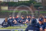 "The Boat Race season 2016 - Women's Boat Race Trial Eights (OUWBC, Oxford): ""Charybdis"", cox-Morgan Baynham-Williams, stroke-Kate Erickson, 7-Maddy Badcott, 6-Elo Luik, 5-Ruth Siddorn, 4-Emma Spruce, 3-Lara Pysden, 2-Christina Fleischer, bow-Georgie Daniell    seen behind ""Scylla"". River Thames between Putney Bridge and Mortlake, London SW15,  United Kingdom, on 10 December 2015 at 12:37, image #323"