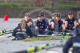 "The Boat Race season 2016 - Women's Boat Race Trial Eights (OUWBC, Oxford): ""Charybdis"", cox-Morgan Baynham-Williams, stroke-Kate Erickson, 7-Maddy Badcott, 6-Elo Luik, 5-Ruth Siddorn, 4-Emma Spruce, 3-Lara Pysden, 2-Christina Fleischer, bow-Georgie Daniell    seen behind ""Scylla"". River Thames between Putney Bridge and Mortlake, London SW15,  United Kingdom, on 10 December 2015 at 12:37, image #325"