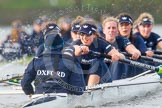 "The Boat Race season 2016 - Women's Boat Race Trial Eights (OUWBC, Oxford): ""Scylla"", cox-Antonia Stutter, stroke-Emma Lukasiewicz, 7-Lauren Kedar, 6-Joanne Jansen, 5-Anastasia Chitty, 4-Rebecca Te Water Naude, 3-Elettra Ardissino, 2-Merel Lefferts, bow-Issy Dodds. River Thames between Putney Bridge and Mortlake, London SW15,  United Kingdom, on 10 December 2015 at 12:37, image #327"