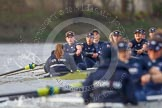 "The Boat Race season 2016 - Women's Boat Race Trial Eights (OUWBC, Oxford): ""Charybdis"", cox-Morgan Baynham-Williams, stroke-Kate Erickson, 7-Maddy Badcott, 6-Elo Luik, 5-Ruth Siddorn, 4-Emma Spruce, 3-Lara Pysden, 2-Christina Fleischer, bow-Georgie Daniell    seen behind ""Scylla"". River Thames between Putney Bridge and Mortlake, London SW15,  United Kingdom, on 10 December 2015 at 12:37, image #329"