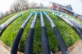 The Boat Race season 2016 - OUWBC training Wallingford: Oars ready for a day's training outside Oxford's Fleming Boat House in Wallingford. River Thames, Wallingford, Oxfordshire,  on 29 February 2016 at 14:51, image #19