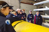 The Boat Race season 2016 - OUWBC training Wallingford: The crew of Osiris, the OUWBC reserve boat, at a pre-traing briefing with coach Ali Williams (right). River Thames, Wallingford, Oxfordshire,  on 29 February 2016 at 15:12, image #20