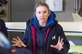 The Boat Race season 2016 - OUWBC training Wallingford: Ali Williams, assistant coach at OUWBC, and in charge of the Osiris (reserve boat) crew on the day. Ali is Canadian, but spent most of her rowing career in Australia. River Thames, Wallingford, Oxfordshire,  on 29 February 2016 at 15:12, image #21