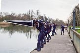 The Boat Race season 2016 - OUWBC training Wallingford: The crew of Osiris, the OUWBC reserve boat, carrying their boat to the river for their training session. River Thames, Wallingford, Oxfordshire,  on 29 February 2016 at 15:16, image #31