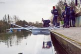 The Boat Race season 2016 - OUWBC training Wallingford: The OUWBC reserve boat crew getting ready for their training session on the Thames at Wallingford. River Thames, Wallingford, Oxfordshire,  on 29 February 2016 at 15:16, image #33