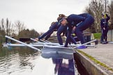 The Boat Race season 2016 - OUWBC training Wallingford: The OUWBC reserve boat crew getting ready for their training session on the Thames at Wallingford. River Thames, Wallingford, Oxfordshire,  on 29 February 2016 at 15:16, image #34