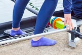 The Boat Race season 2016 - OUWBC training Wallingford: Which Blue are you? Rower's feet before entering the boat. River Thames, Wallingford, Oxfordshire,  on 29 February 2016 at 15:17, image #37