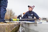 The Boat Race season 2016 - OUWBC training Wallingford: Flo Pickles, stroke in Osiris, the OUWBC reserve boat. River Thames, Wallingford, Oxfordshire,  on 29 February 2016 at 15:19, image #40