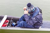 The Boat Race season 2016 - OUWBC training Wallingford: OUWBC cox Will Smith in his office - Osiris, the reserve boat.. River Thames, Wallingford, Oxfordshire,  on 29 February 2016 at 15:19, image #41