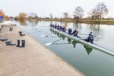 The Boat Race season 2016 - OUWBC training Wallingford: Osiris, the OUWBC reserve boat, with (from bow) Georgie Daniell, Issy Dodds, Chloe Farrar, Elettra Ardissino, Isa Von Loga, Rebecca Te Water Naude, Kate Erickson, Flo Pickles and cox Will Smith. River Thames, Wallingford, Oxfordshire,  on 29 February 2016 at 15:20, image #43