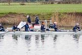 The Boat Race season 2016 - OUWBC training Wallingford: Osiris, the OUWBC reserve boat, at the start of their traing session with coach Ali Williams. River Thames, Wallingford, Oxfordshire,  on 29 February 2016 at 15:23, image #45