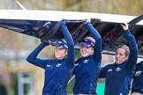 The Boat Race season 2016 - OUWBC training Wallingford: The OUWBC Blue Boat crew carrying their boat - Emma Lukasiewicz, Maddy Badcott, and Anastasia Chitty. River Thames, Wallingford, Oxfordshire,  on 29 February 2016 at 15:30, image #47