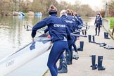 The Boat Race season 2016 - OUWBC training Wallingford: The OUWBC Blue Boat crew getting ready for their training session on the Thames at Wallingford. River Thames, Wallingford, Oxfordshire,  on 29 February 2016 at 15:32, image #53