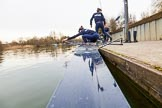 The Boat Race season 2016 - OUWBC training Wallingford: The OUWBC Blue Boat crew getting ready for their training session on the Thames at Wallingford. River Thames, Wallingford, Oxfordshire,  on 29 February 2016 at 15:32, image #54