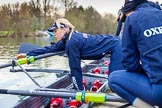 The Boat Race season 2016 - OUWBC training Wallingford: The OUWBC Blue Boat crew getting ready for their training session on the Thames at Wallingford, here 2 seat Emma Spruce. River Thames, Wallingford, Oxfordshire,  on 29 February 2016 at 15:32, image #55