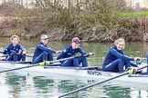 The Boat Race season 2016 - OUWBC training Wallingford: At the start of the OUWBC Blue Boat training session - Joanne Jansen, Ruth Siddorn, Elo Luik and Anastasia Chitty. River Thames, Wallingford, Oxfordshire,  on 29 February 2016 at 15:46, image #56