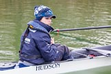 The Boat Race season 2016 - OUWBC training Wallingford: Antonia Stutter, cox in the OUWBC Blue Boat. River Thames, Wallingford, Oxfordshire,  on 29 February 2016 at 16:19, image #100