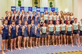 The Boat Race season 2016 - Crew Announcement and Weigh-In: The Cancer Research Boat Races Crew Announcement group photos - the Oxford women and men on the left, Cambridge on the right. Westmister Hall, Westminster, London SW11,  United Kingdom, on 01 March 2016 at 10:31, image #87