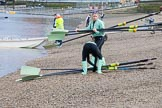 The Boat Race season 2017 - Women's Boat Race Fixture CUWBC vs Univerity of London: CUWBC's 4, Imogen Grant, and stroke Alice White carrying oars from the boat house. River Thames between Putney Bridge and Mortlake, London SW15,  United Kingdom, on 19 February 2017 at 15:13, image #3