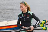 The Boat Race season 2017 - Women's Boat Race Fixture CUWBC vs Univerity of London: CUWBC's 3, Ashton Brown, carrying oars to the boat. River Thames between Putney Bridge and Mortlake, London SW15,  United Kingdom, on 19 February 2017 at 15:15, image #6