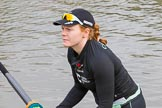 The Boat Race season 2017 - Women's Boat Race Fixture CUWBC vs Univerity of London: Claire Lamb, CUWBC bow. River Thames between Putney Bridge and Mortlake, London SW15,  United Kingdom, on 19 February 2017 at 15:15, image #8