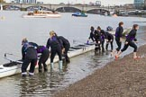 The Boat Race season 2017 - Women's Boat Race Fixture CUWBC vs Univerity of London: Getting ready for the fixture - the University of London crew. River Thames between Putney Bridge and Mortlake, London SW15,  United Kingdom, on 19 February 2017 at 15:18, image #14