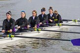 The Boat Race season 2017 - Women's Boat Race Fixture CUWBC vs Univerity of London: The UL boat before the reace, here 6 - Georgia Stratham, 5 - Charlotte Hodgkins-Byrne, 4 - Sara Parfett, 3 - Fionnuala Gannon, 2 - Catherine Ador, bow - Emily Wilks. River Thames between Putney Bridge and Mortlake, London SW15,  United Kingdom, on 19 February 2017 at 15:22, image #16