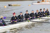 The Boat Race season 2017 - Women's Boat Race Fixture CUWBC vs Univerity of London: The UL boat before the reace, here cox - Lauren Holland, stroke - Robyn Hart-Winks, 7 - Ally French, 6 - Georgia Stratham, 5 - Charlotte Hodgkins-Byrne, 4 - Sara Parfett, 3 - Fionnuala Gannon, 2 - Catherine Ador, bow - Emily Wilks. River Thames between Putney Bridge and Mortlake, London SW15,  United Kingdom, on 19 February 2017 at 15:22, image #17