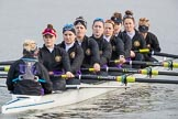 The Boat Race season 2017 - Women's Boat Race Fixture CUWBC vs Univerity of London: The UL boat before the reace, here cox - Lauren Holland, stroke - Robyn Hart-Winks, 7 - Ally French, 6 - Georgia Stratham, 5 - Charlotte Hodgkins-Byrne, 4 - Sara Parfett, 3 - Fionnuala Gannon, 2 - Catherine Ador, bow - Emily Wilks. River Thames between Putney Bridge and Mortlake, London SW15,  United Kingdom, on 19 February 2017 at 15:22, image #20