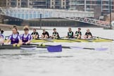 The Boat Race season 2017 - Women's Boat Race Fixture CUWBC vs Univerity of London: The UL BC and the CUWBC eight (behind) before the start of the fixture. River Thames between Putney Bridge and Mortlake, London SW15,  United Kingdom, on 19 February 2017 at 15:51, image #32