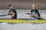The Boat Race season 2017 - Women's Boat Race Fixture CUWBC vs Univerity of London: The CUWBC eight before the start of the race, here 2 - Kirsten Van Fosen, bow - Claire Lambe. River Thames between Putney Bridge and Mortlake, London SW15,  United Kingdom, on 19 February 2017 at 15:52, image #33