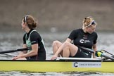The Boat Race season 2017 - Women's Boat Race Fixture CUWBC vs Univerity of London: CUWBC's 6 - Melissa Wilson, 5 - Holy Hill before the start of the race. River Thames between Putney Bridge and Mortlake, London SW15,  United Kingdom, on 19 February 2017 at 15:53, image #35