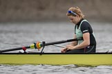 The Boat Race season 2017 - Women's Boat Race Fixture CUWBC vs Univerity of London: The CUWBC eight before the start of the race, here stroke Alice White. River Thames between Putney Bridge and Mortlake, London SW15,  United Kingdom, on 19 February 2017 at 15:53, image #37