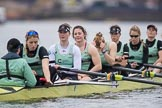 The Boat Race season 2017 - Women's Boat Race Fixture CUWBC vs Univerity of London: The CUWBC eight before the start of the race, cox - Matthew Holland, stroke - Alice White, 7 - Myriam Goudet, 6 - Melissa Wilson, 5 - Holy Hill, 4 - Imogen Grant, 3 - Ashton Brown, 2 - Kirsten Van Fosen, bow - Claire Lambe. River Thames between Putney Bridge and Mortlake, London SW15,  United Kingdom, on 19 February 2017 at 15:54, image #39