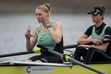 The Boat Race season 2017 - Women's Boat Race Fixture CUWBC vs Univerity of London: The CUWBC eight before the start of the race, here 5 - Holy Hill, 4 - Imogen Grant. River Thames between Putney Bridge and Mortlake, London SW15,  United Kingdom, on 19 February 2017 at 15:54, image #41