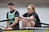 The Boat Race season 2017 - Women's Boat Race Fixture CUWBC vs Univerity of London: The CUWBC eight before the start of the race, here 2 - Kirsten Van Fosen, bow - Claire Lambe. River Thames between Putney Bridge and Mortlake, London SW15,  United Kingdom, on 19 February 2017 at 15:54, image #42