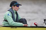 The Boat Race season 2017 - Women's Boat Race Fixture CUWBC vs Univerity of London: The CUWBC eight before the start of the race, here cox  Matthew Holland. River Thames between Putney Bridge and Mortlake, London SW15,  United Kingdom, on 19 February 2017 at 15:55, image #43