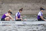 The Boat Race season 2017 - Women's Boat Race Fixture CUWBC vs Univerity of London: The UL boat, here ow - Emily Wilks, 2 - Catherine Ador, 3 - Fionnuala Gannon. River Thames between Putney Bridge and Mortlake, London SW15,  United Kingdom, on 19 February 2017 at 15:57, image #44