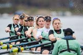 The Boat Race season 2017 - Women's Boat Race Fixture CUWBC vs Univerity of London: The CUWBC eight at the start of the race, cox - Matthew Holland, stroke - Alice White, 7 - Myriam Goudet, 6 - Melissa Wilson, 5 - Holy Hill, 4 - Imogen Grant, 3 - Ashton Brown, 2 - Kirsten Van Fosen, bow - Claire Lambe. River Thames between Putney Bridge and Mortlake, London SW15,  United Kingdom, on 19 February 2017 at 16:01, image #62
