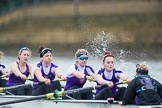 The Boat Race season 2017 - Women's Boat Race Fixture CUWBC vs Univerity of London: The UL eight at the start of the race,  5 - Charlotte Hodgkins-Byrne, 4 - Sara Parfett, 3 - Fionnuala Gannon, 2 - Catherine Ador, bow - Emily Wilks. River Thames between Putney Bridge and Mortlake, London SW15,  United Kingdom, on 19 February 2017 at 16:01, image #63
