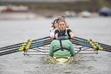 The Boat Race season 2017 - Women's Boat Race Fixture CUWBC vs Univerity of London: The CUWBC eight at the start of the race, cox - Matthew Holland, stroke - Alice White, 7 - Myriam Goudet, 6 - Melissa Wilson, 5 - Holy Hill, 4 - Imogen Grant, 3 - Ashton Brown, 2 - Kirsten Van Fosen, bow - Claire Lambe. River Thames between Putney Bridge and Mortlake, London SW15,  United Kingdom, on 19 February 2017 at 16:01, image #66