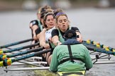 The Boat Race season 2017 - Women's Boat Race Fixture CUWBC vs Univerity of London: The CUWBC eight with bow - Claire Lambe, 2 - Kirsten Van Fosen, 3 - Ashton Brown, 4 - Imogen Grant, 5 - Holy Hill, 6 - Melissa Wilson, 7 - Myriam Goudet, stroke - Alice White, cox - Matthew Holland . in focus Alice White. River Thames between Putney Bridge and Mortlake, London SW15,  United Kingdom, on 19 February 2017 at 16:01, image #67