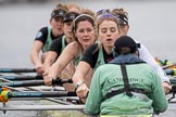 The Boat Race season 2017 - Women's Boat Race Fixture CUWBC vs Univerity of London: The CUWBC eight at the start of the race, cox - Matthew Holland, stroke - Alice White, 7 - Myriam Goudet, 6 - Melissa Wilson, 5 - Holy Hill, 4 - Imogen Grant, 3 - Ashton Brown, 2 - Kirsten Van Fosen, bow - Claire Lambe. River Thames between Putney Bridge and Mortlake, London SW15,  United Kingdom, on 19 February 2017 at 16:01, image #68