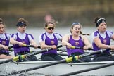 The Boat Race season 2017 - Women's Boat Race Fixture CUWBC vs Univerity of London: The UL eight, here 2 - Catherine Ador, 3 - Fionnuala Gannon, 4 - Sara Parfett, 5 - Charlotte Hodgkins-Byrne, 6 - Georgia Stratham. River Thames between Putney Bridge and Mortlake, London SW15,  United Kingdom, on 19 February 2017 at 16:02, image #69
