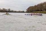 The Boat Race season 2017 - Women's Boat Race Fixture CUWBC vs Univerity of London: The CUWBC boat is taking the lead near the boat houses. River Thames between Putney Bridge and Mortlake, London SW15,  United Kingdom, on 19 February 2017 at 16:02, image #70