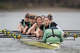 The Boat Race season 2017 - Women's Boat Race Fixture CUWBC vs Univerity of London: The CUWBC eight, cox - Matthew Holland, stroke - Alice White, 7 - Myriam Goudet, 6 - Melissa Wilson, 5 - Holy Hill, 4 - Imogen Grant, 3 - Ashton Brown, 2 - Kirsten Van Fosen, bow - Claire Lambe, in focus Melissa Wilson. River Thames between Putney Bridge and Mortlake, London SW15,  United Kingdom, on 19 February 2017 at 16:02, image #72