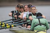 The Boat Race season 2017 - Women's Boat Race Fixture CUWBC vs Univerity of London: The CUWBC eight, cox - Matthew Holland, stroke - Alice White, 7 - Myriam Goudet, 6 - Melissa Wilson, 5 - Holy Hill, 4 - Imogen Grant, 3 - Ashton Brown, 2 - Kirsten Van Fosen, bow - Claire Lambe, in focus Melissa Wilson. River Thames between Putney Bridge and Mortlake, London SW15,  United Kingdom, on 19 February 2017 at 16:03, image #75